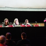 Solvej Schou, Michelle Threadgould, Lucretia Tye Jasmine, Holly George-Warren and Evelyn McDonnell at Pop Conference 2019. Photo by Janet Goodman.