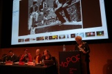 Dr. Donna Gaines sermonizes about the Ramones at Pop Conference 2019. Photo by Janet Goodman.